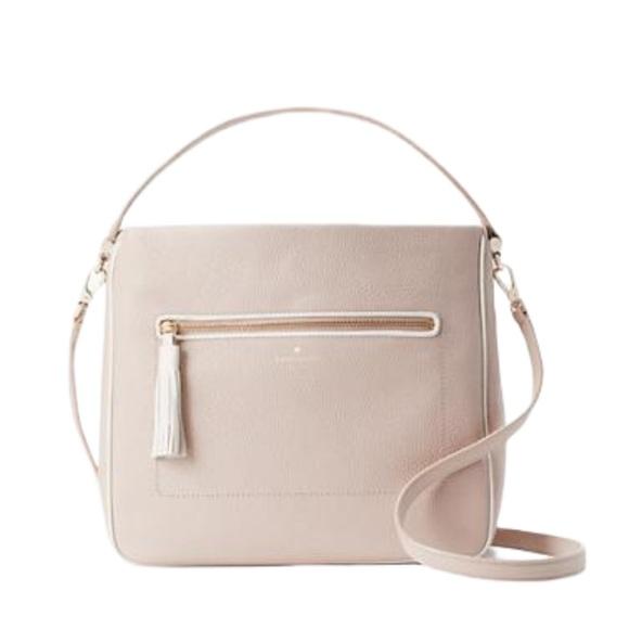 NWT leather Kate spade fringe leather zip bag